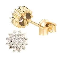 Ardeo Aurum Damen Ohrringe-Ohrstecker aus 585 Gold Gelbgold mit 0,18 ct Diamant Brillant Solitär Sterne Design rund 6 mm - 1