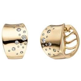 JOBO Damen Creolen 585 Gold Gelbgold 34 Diamanten Brillanten Ohrringe Goldcreolen - 1