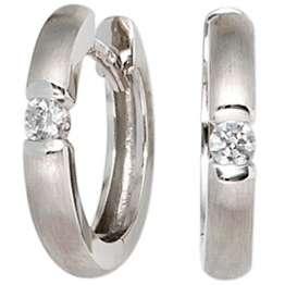 JOBO Damen-Creolen aus 585 Weißgold matt mit 2 Diamanten - 1