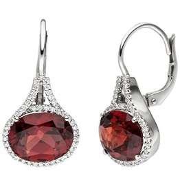 JOBO Ohrhänger 585 Gold Weißgold 88 Diamanten Brillanten 2 Granate rot Ohrringe - 1