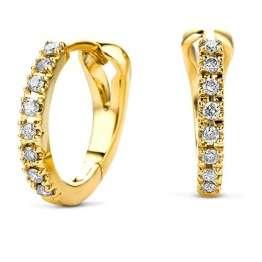 Miore Ohrringe Damen 0.11 Ct Diamant Creolen aus Gelbgold 14 Karat / 585 Gold, Ohrschmuck mit Diamanten Brillanten - 1