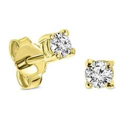 Miore Ohrringe Damen 0.25 Ct Solitär Diamant runde Ohrstecker aus Gelbgold 14 Karat / 585 Gold, Ohrschmuck - 1