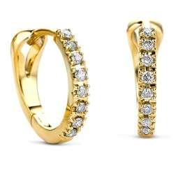 Orovi Damen Diamant Gold Creolen Ohrringe GelbGold 14 Karat (585) Ohr-Schmuck Brillianten 0.10 ct - 1