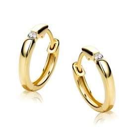 Orovi Damen Diamant Gold Creolen Ohrringe Gelbgold 9 Karat (375) Ohr-Schmuck Brillianten 0.06ct - 1