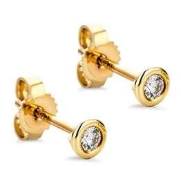 Orovi Damen Ohrringe mit Diamanten Gelbgold Solitär Ohrstecker 14 Karat (585) Gold und Diamant Brillanten 0.08 Ct Ohrring Handgemacht in Italien - 1