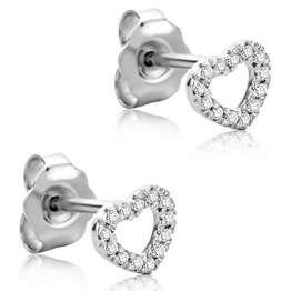 Orovi Ohrringe Damen Herz Weißgold 18 Karat / 750 Gold Ohrstecker Diamant Brilliant 0,08 ct - 1