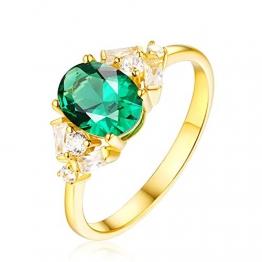 Adokiss Schmuck Goldring 750 Echtgold, Oval Smaragd 0.67ct mit Diamant Verlobungsring Damen Eheringe Vintage, Gold Gr. 60 (19.1), Weihnachts Geschenke für Frauen - 1