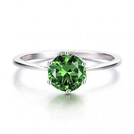 ANAZOZ Echtschmuck Damen-Ring 18 Karat 750 Weißgold 0,85 Karat Grün Turmalin Hochzeitsringe Gold Solitärring Größe 54 (17.2) - 1