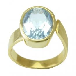 Aquamarin Ring Gold Goldschmiedearbeit (Gelbgold 585) - Goldring mit Aquamarin 9,16 Karat - Aquamarinring mit Expertise - 1