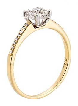 Ardeo Aurum Damenring aus 585 Gold bicolor Gelbgold Weißgold mit 0,28 ct Diamant Brillant Solitär-Ring Verlobungsring Solitaire - 1