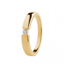 Ardeo Aurum Damenring aus 585 Gold Gelbgold mit 0,07 ct Diamant Brillant Spannfasssung Verlobungsring Solitär - 1