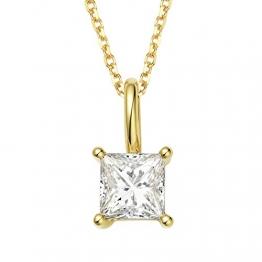 Daesar 18K Gelbgold Damen Halskette Quadrat 1 Diamant Prinzessin Schnitt Anhänger Halskette Gold Kette 45CM - 1