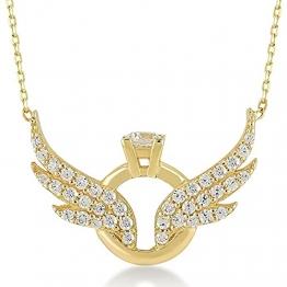 Damen Halskette aus 14 Karat - 585 Echt Gelbgold Kette mit Anhänger als Engelsflügel und Ringe, Zirkonia Steinchen, Geschenk für Valentinstag Geburtstag Weihnachten - Kette 45 cm - 1