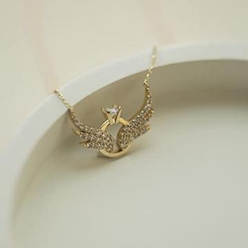 Damen Halskette aus 14 Karat - 585 Echt Gelbgold Kette mit Anhänger als Engelsflügel und Ringe, Zirkonia Steinchen, Geschenk für Valentinstag Geburtstag Weihnachten - Kette 45 cm - 4