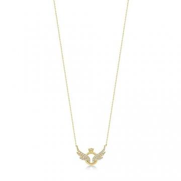 Damen Halskette aus 14 Karat - 585 Echt Gelbgold Kette mit Anhänger als Engelsflügel und Ringe, Zirkonia Steinchen, Geschenk für Valentinstag Geburtstag Weihnachten - Kette 45 cm - 6