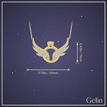 Damen Halskette aus 14 Karat - 585 Echt Gelbgold Kette mit Anhänger als Engelsflügel und Ringe, Zirkonia Steinchen, Geschenk für Valentinstag Geburtstag Weihnachten - Kette 45 cm - 7