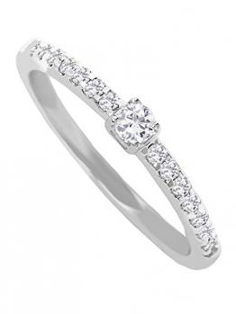 Diamant Verlobungsring Weißgold Weissgold 750 Gold (18 Karat) Mit Brillant 0,20ct. Gr.48 Heiratsantrag Antrag Diamantring Damenring Weißgoldring Gaura V0011018 - 1
