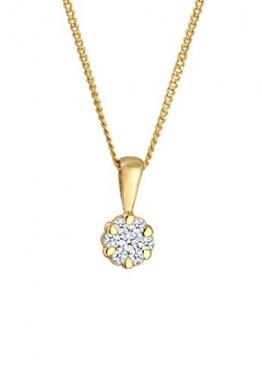 DIAMORE Halskette Damen mit Anhänger Elegant mit Diamant (0.15 ct.) in in 585 Gelbgold 45 - 1