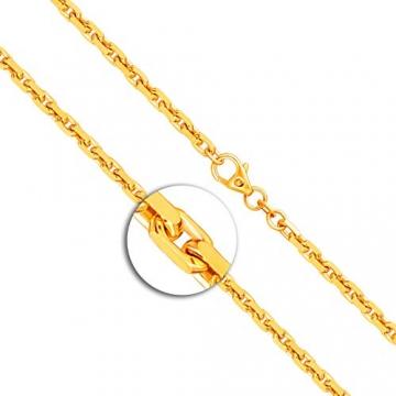 Goldkette, Ankerkette diamantiert Gelbgold 585/14 K, Länge 50 cm, Breite 3 mm, Gewicht ca. 23.6 g, NEU - 2