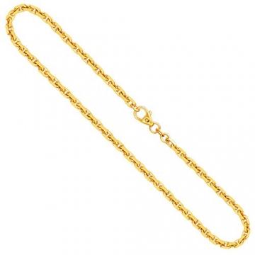 Goldkette, Ankerkette diamantiert Gelbgold 585/14 K, Länge 50 cm, Breite 3 mm, Gewicht ca. 23.6 g, NEU - 1