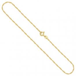 Goldkette Damen Echt Gold 1,2 mm, Singapurkette 750 aus Gelbgold, Kette Gold mit Stempel, Halskette mit Federring, Länge 38 cm, Gewicht ca. 1,4 g, Made in Germany - 1