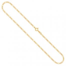 Goldkette, Figarokette diamantiert Gelbgold 585/14 K, Länge 60 cm, Breite 2.2 mm, Gewicht ca. 6.6 g, NEU - 1