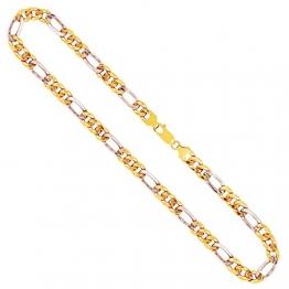 Goldkette, Figarokette hohl Bicolor Gelbgold/Weißgold 333/8 K, Länge 45 cm, Breite 5.7 mm, Gewicht ca. 8.1 g, NEU - 1