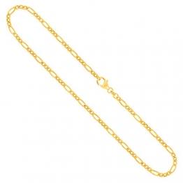 Goldkette, Figarokette hohl Gelbgold 585/14 K, Länge 45 cm, Breite 3.5 mm, Gewicht ca. 6.2 g, NEU - 1
