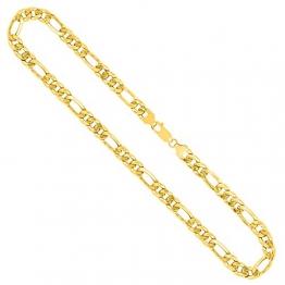 Goldkette, Figarokette hohl Gelbgold 750 / 18K, Länge 45 cm, Breite 5.7 mm, Gewicht ca. 13.2 g, NEU - 1