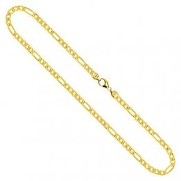 Goldkette Herren Echtgold 3.4 mm, Figarokette diamantiert 750 aus Gelbgold, Kette Gold mit Stempel, Halskette mit Karabinerverschluss mit Endkappen, Länge 42 cm, Gewicht ca. 14 g, Made in Germany - 1