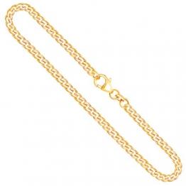 Goldkette Herren Echtgold 3.4 mm, Panzerkette flach 333 aus Gelbgold, Kette Gold mit Stempel, Halskette mit Karabinerverschluss, Länge 50 cm, Gewicht ca. 12.2 g, Made in Germany - 1