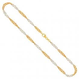 Goldkette, Singapurkette Bicolor Gelbgold/Weißgold 585/14 K, Länge 45 cm, Breite 2.4 mm, Gewicht ca. 4.3 g, NEU - 1