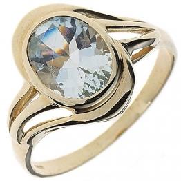 JOBO Damen Ring 585 Gold Gelbgold 1 Aquamarin Goldring Größe 56 [Schmuck] - 1