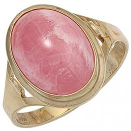 JOBO Damen Ring 585 Gold Gelbgold 1 Rhodochrosit rosa Goldring Größe 60 - 1
