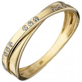 JOBO Damen-Ring aus 333 Gold mit 15 Zirkonia Größe 56 - 1