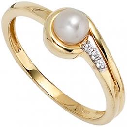 JOBO Damen-Ring aus 333 Gold mit Perle und Zirkonia Größe 52 - 1