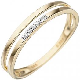 JOBO Damen-Ring aus 585 Gold mit 5 Diamanten Größe 50 - 1