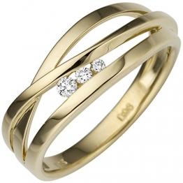 JOBO Damen Ring breit 585 Gold Gelbgold 3 Diamanten Brillanten 0,08ct. Goldring Größe 58 - 1