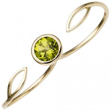 JOBO Damen Zweifinger Ring 585 Gold Gelbgold 1 Peridot grün Goldring Zweifingerring Größe 56 - 1