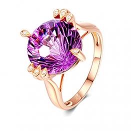 KnSam 18 K Gold Goldring Echtgold Gold Ring 750 Damen Blume Lila Amethyst Diamant 7Ct Für Damen Mädchen Hochzeit Ehe Verlobungsring Valentinstag Jubiläum Geschenk - 1
