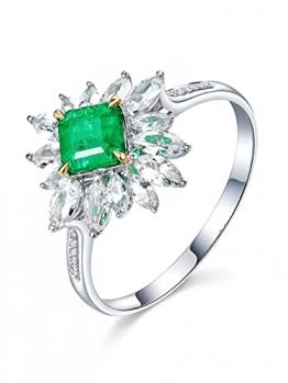 KnSam Damen Ring, Goldring 750 18K Weiß Gold Ehering Gold Mit 0.63ct Smaragd Diamond Weiß Gold - 1