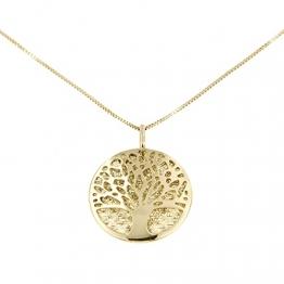 Lucchetta Goldkette 585 Damen - Baum des Lebens Anhänger Halskette 14 Karat GelbGold - Echtgold Schmuck - 1