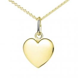 Materia Herzkette Gold 375 Damen Mädchen 1,1g - kleiner Herz Anhänger mit Kette Goldkette 42cm in Schmuck Etui GKA-5 - 1