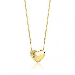 Orovi Halskette Damen Kette mit Herz Gelbgold 18 Karat / 750 Gold Diamant Brilliant 0,02 ct - 1