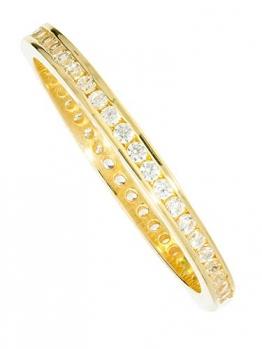 Ring Gelbgold 333 Gold (8 Karat) Mit Zirkonia Zart 3mm Memory Memoire Rundum Damenring Fingerring Goldring Gr.48 Cora R-07950-G301-CZC-whi-W48 - 1