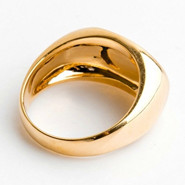 SonMo Herren 10MM Goldring 750 Poliert Oval Pater Schwanzring Poliert Ring Siegel Herren Partnerringe Ohne Gravur Punk Ring Gold Größe:56 (17.8) - 3