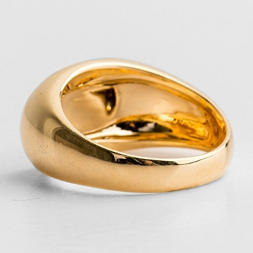 SonMo Herren 10MM Goldring 750 Poliert Oval Pater Schwanzring Poliert Ring Siegel Herren Partnerringe Ohne Gravur Punk Ring Gold Größe:56 (17.8) - 4