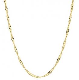 14 Karat / 585 Gold Singapur Kette Licht Zweiseitig Diamantiert Unisex, Länge Wählbar (49) - 1