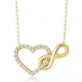 Damen Halskette aus Gold 14 Karat - 585 Echt Gelbgold mit Unendlichkeit und einem Herz verbunden als Anhänger, Zirkonia Steinen, Endlos Liebe - Geschenk für Valentinstag Geburstag - Kette 45 cm - 1