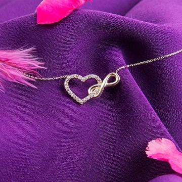 Damen Halskette aus Gold 14 Karat - 585 Echt Gelbgold mit Unendlichkeit und einem Herz verbunden als Anhänger, Zirkonia Steinen, Endlos Liebe - Geschenk für Valentinstag Geburstag - Kette 45 cm - 4